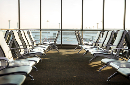 contemporary lounge with seats in the airport during sun set or sun rise time,cool tone Stok Fotoğraf
