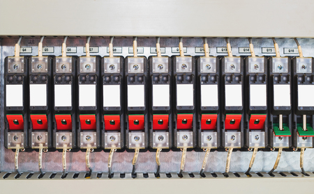 Circuit breaker,Fusebox with four automatic fuses .Electricity distribution box. Electrical cabinet with tools.DC circuit breaker Stok Fotoğraf