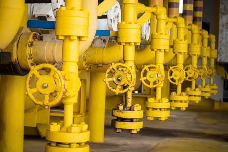 safe water: Valves manual in the production process. Production process used manual valve to control the system, Operator open and close or function the valve for controlled pressure or gas and oil flow rate. Stock Photo