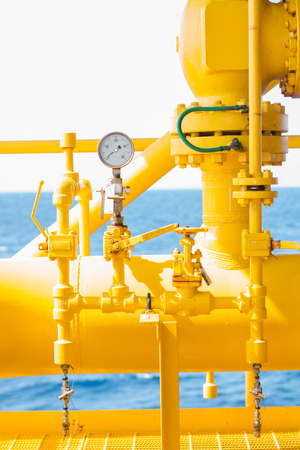 Pressure gauge for monitoring measure pressure in oil and gas process, Offshore oil and gas industry.Oil and gas wellhead platform in the gulf or the sea, The world energy.