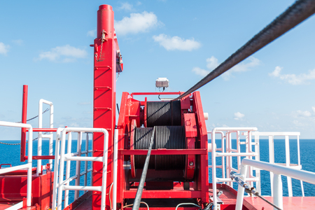 Pedestal crane winch, Steel wire rope on production platform, Energy and petroleum industry Stok Fotoğraf