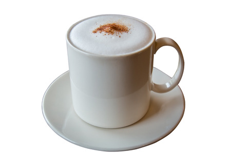 Cappuccino coffee in white cup isolated on white with clipping paths