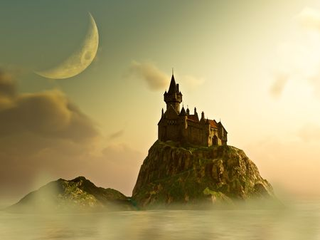 fairytale: Island Castle in the mist at sunrise under a crescent moon