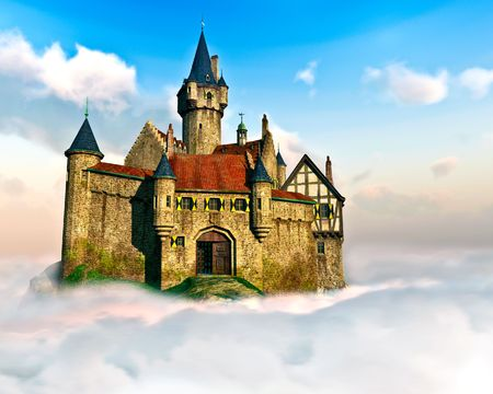storybook: Castle in the Clouds Stock Photo