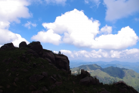 rocks on the mountaintop of chinese Nanning ridge photo