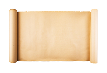 Old stressed paper scroll on white background isolated. Horizontal background, empty space, room for text, copy, lettering, map.