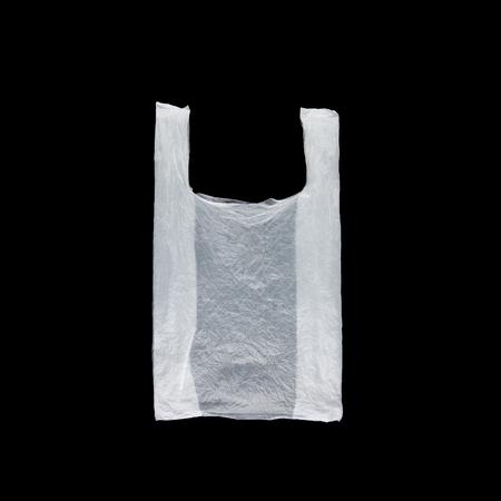 White semitransparent plastic bag on black background isolated. Plastic pollution problem highlight. Archivio Fotografico - 121286740