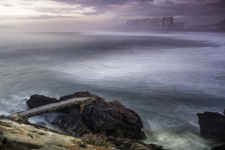 davenport: Viewpoint of the beach of salinas in Asturias