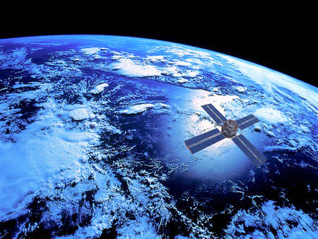 orbit: Earth with  Satellite in Orbit Stock Photo