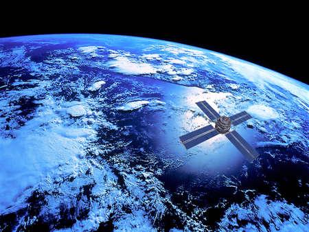 Země s satelit na oběžné dráze