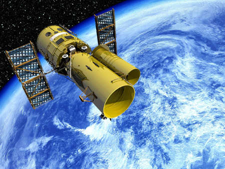 earth from space: Satellite In Orbit Stock Photo
