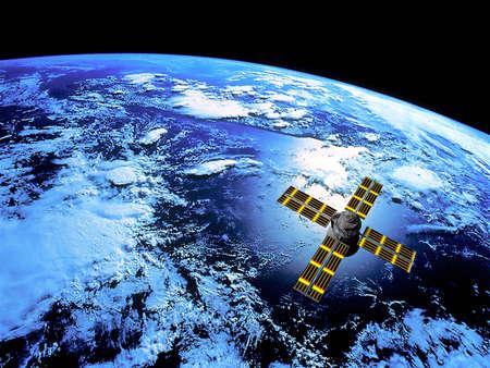 orbit: Space Satellite in Earth Orbit Stock Photo