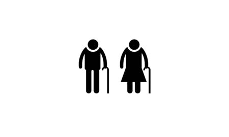 Old people with a staff or walking stick black flat icon isolated on white background