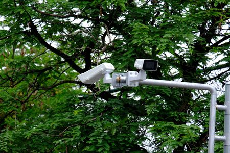 Security CCTV camera surveillance system in the park 스톡 콘텐츠 - 150553681