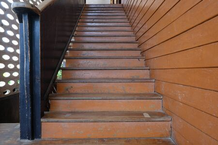 Thai school building ancient wooden staircase