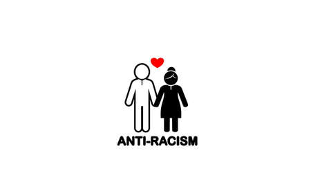 Anti-Racism couple bride and groom flat icon white male and black female love each other on white background
