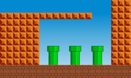 Illustration scene of famous old video game that we love, the retro styled of screenshot familiar background Vectores