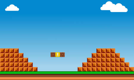 Illustration imitate scene of famous old arcade video game, the retro styled of screenshot familiar background