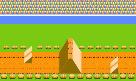 Illustration imitate scene of famous old arcade motocross racing video game, the retro styled of screenshot familiar background