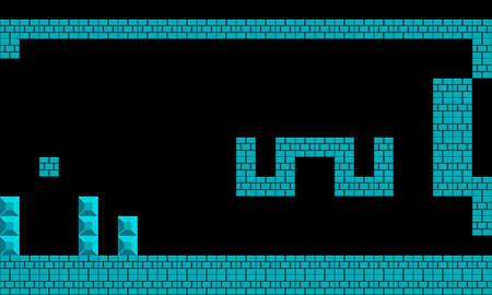 Illustration imitate scene of famous old arcade video game, the retro styled of screenshot familiar underground background