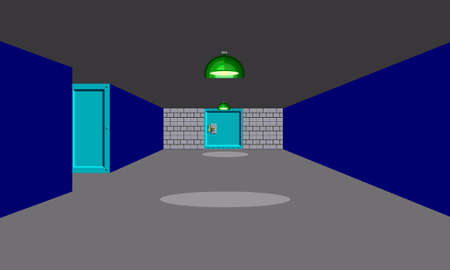 Illustration imitate scene of famous old First-Person Shooter computer game, the retro styled of screenshot familiar background