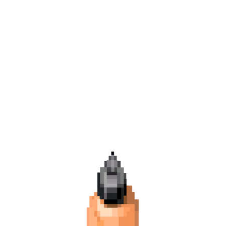 Illustration hand holding gun isolated from old First-Person Shooter computer game, the pixel art of FPS game