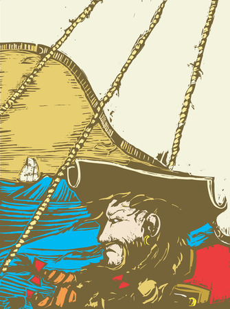 barco pirata: Blackbeard Vectores
