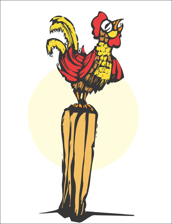 rooster and morning sun: Rooster Illustration