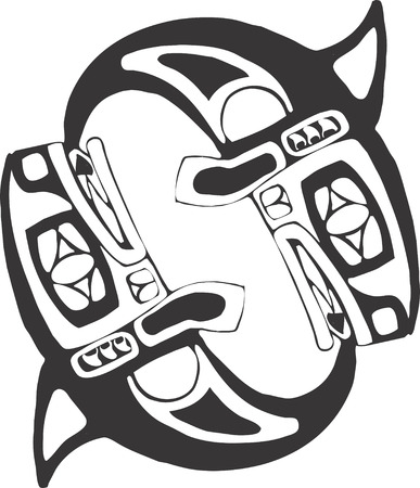northwest: Two Spinning Whales in the style of Northwest  Coast Native imagery. Illustration