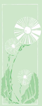 Scratchboard-afbeelding van een gemeenschappelijk dandelion onkruid.