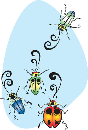 chirp: Four colorful beetles gathering to sing and chirp.