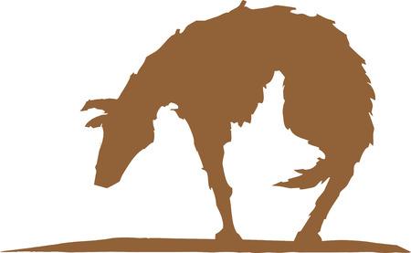 悲しいと空腹の犬のシルエット。  イラスト・ベクター素材