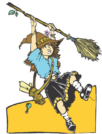 apprentice: young apprentice witch having trouble with her broom.