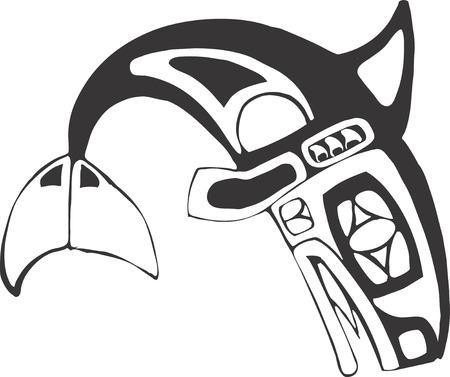 coast: Orca-Killer Whale in the style of Northwest Coast Native Culture.
