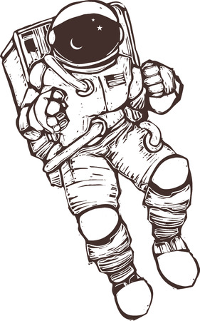 United States astronaut wearing a space suit.  Illustration