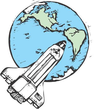 Bovenaanzicht van de Verenigde Staten Space Shuttle in een baan om de aarde.