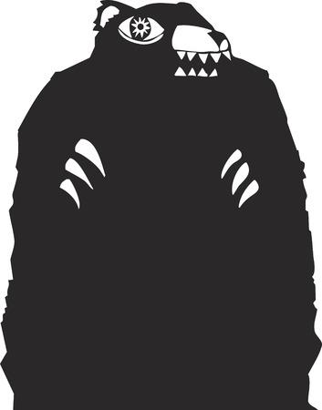 devour: Black bear woodcut looming in a nightmare. Illustration