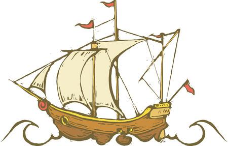 columbus: Viejo tiempo navegando en alta mar. Vectores