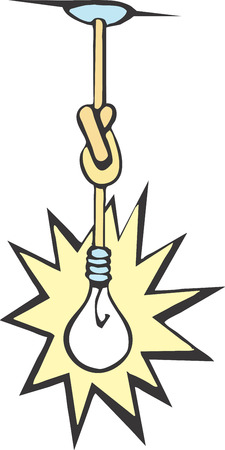 waste money: Light bulb hanging from the ceiling with its cord tied in knots. Illustration