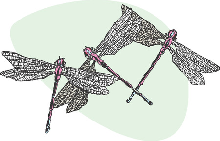 Three purple and blue dragonflies flying together. Çizim