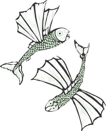 scratch board: Two flying fish rendered in a simplistic scratch board style.