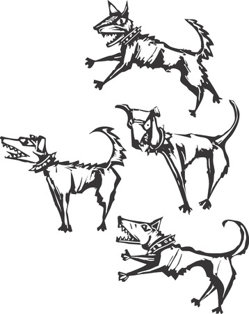 rythme: Quatre col�re peur des chiens rendus dans un style scratchboard.