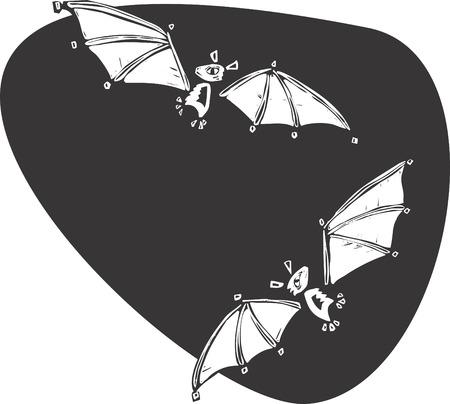 Twee vleermuizen vliegen elkaar in de nacht. Stock Illustratie