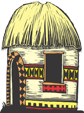 African hut with straw roof and decorated sides.