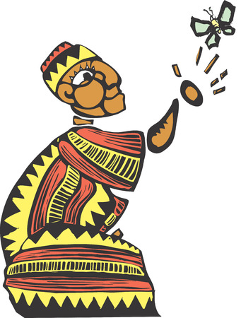 African man in colorful clothes releasing a butterfly.