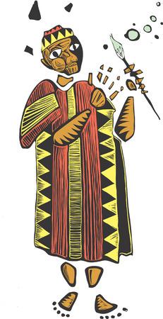 カラフルな布のローブと絵筆を持つアフリカのアーティスト。