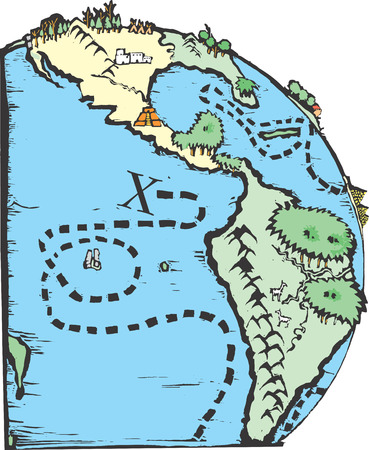 americas: Map of the world with big X for pirate treasure.