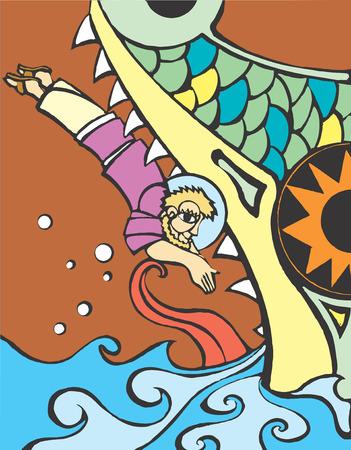 聖書のヨナは、クジラにダイビングします。