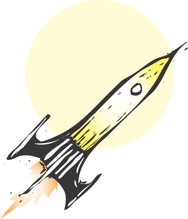 Retro Rocket ship blasting off into space. Ilustracja