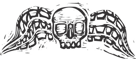 evoking: Winged skull design evoking the image of a gravestone from the 18th century.